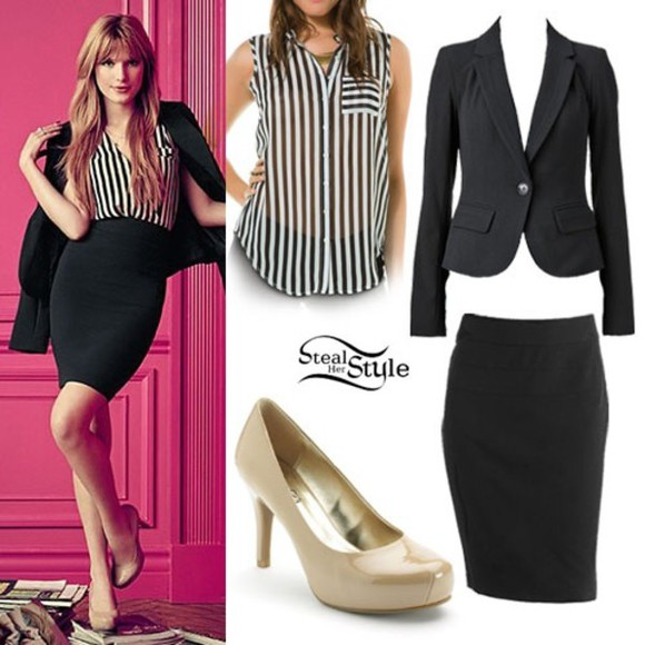 work jacket black and white stripes suit skirt business attire suit jacket