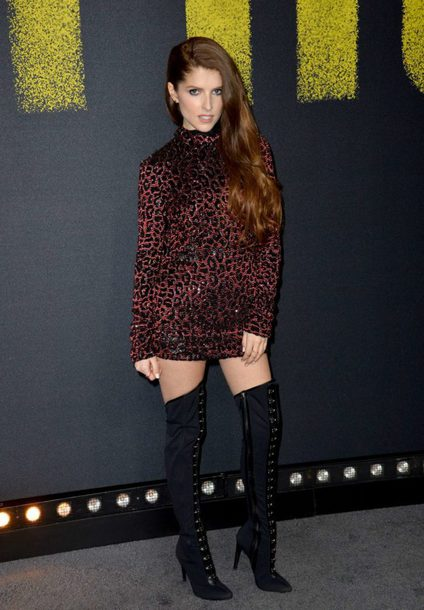dress party dress body bodycon dress boots anna kendrick over the knee boots