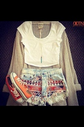 sweater,woman's clothing,outfit,summer,shorts,shirt,jewels,cardigan,denim shorts,printed shorts,ripped shorts,bleached,faded shorts,hipster,sunglasses,necklace,jewelry,tribal pattern,sneakers,crop tops,top,aztec,tank top,converse,blouse,orange,white