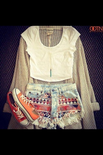 sweater woman's clothing outfit summer shorts shirt jewels cardigan denim shorts printed shorts ripped shorts bleached faded shorts hipster sunglasses necklace jewelry tribal pattern sneakers crop tops top aztec tank top converse blouse orange white