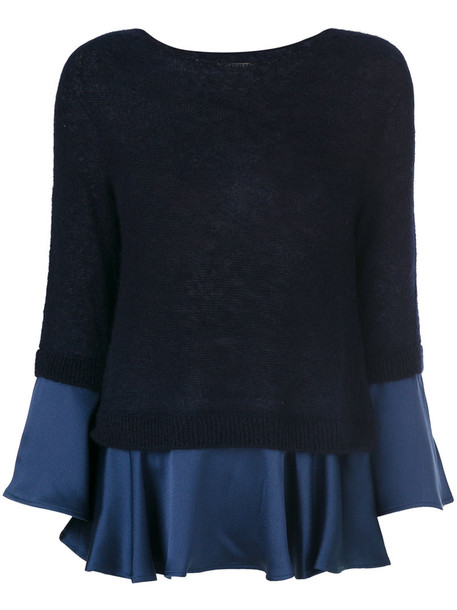 Semicouture pullover pleated women mohair blue wool sweater