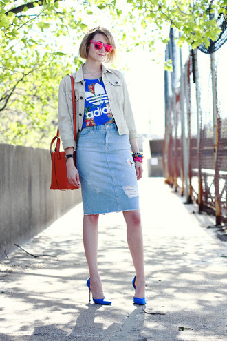 district of chic sunglasses jewels t-shirt jacket skirt shoes bag
