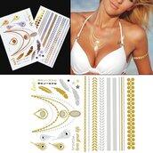 jewels,wander chic,jewelry,jewelry tattoo,beyonce jewelry,metallic tattoo,beyoncé gold metallic tattoo