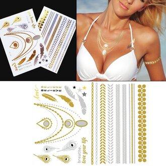 jewels wander chic jewelry jewelry tattoo beyonce jewelry metallic tattoo beyoncé gold metallic tattoo