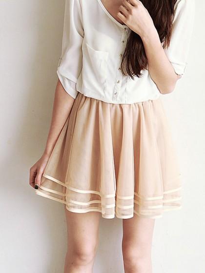 Beige layered mesh skater skirt with trim
