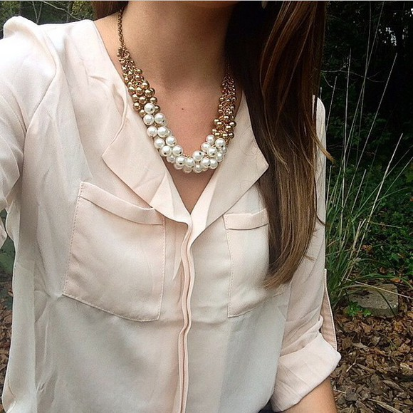 light pink shirt beige jewels necklace gold creme gold necklace pearl white pearls