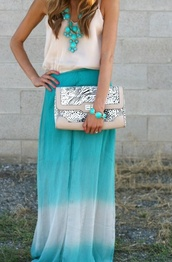 skirt,maxi,maxi skirt,dipped,dip dyed,blur,wbige,white,teal,tie dye,blouse,bag,blue ombré,ombre,necklace,shirt