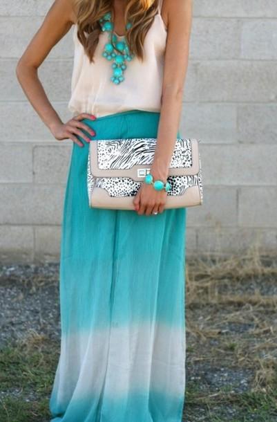 skirt maxi maxi skirt dipped dip dyed blur wbige white teal tie dye tie dye blouse bag blue ombré ombre necklace shirt
