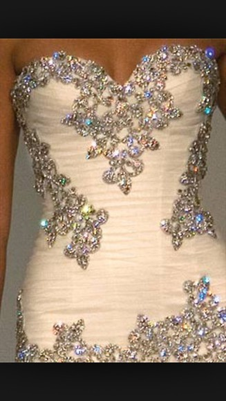 dress long prom dresses sweetheart neckline creme dress bedazzled style