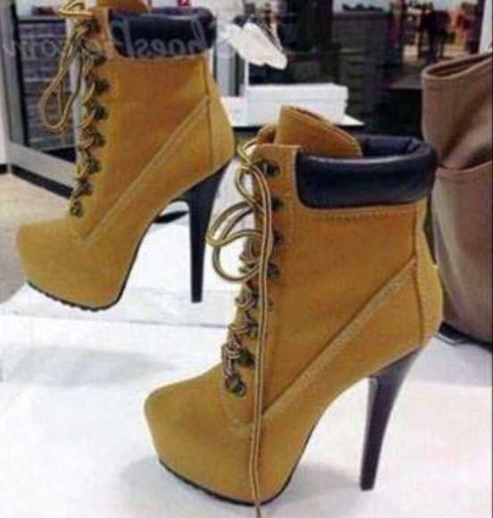 ankle boots boots beige high heels platform shoes heels brown shoes stilettos lace up boots