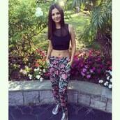 pants,crop tops,victoria justice,instagram,floral pants,top,shoes