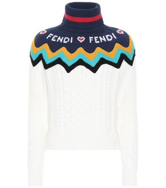 Fendi Wool and cashmere sweater in white