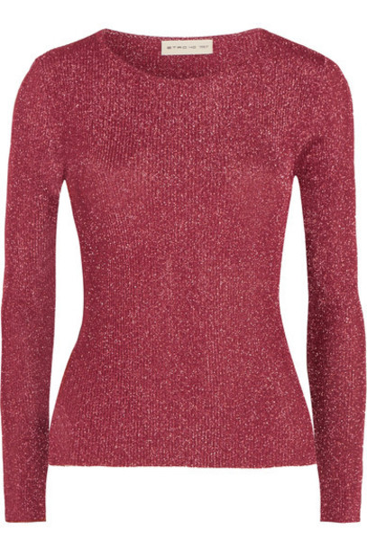 ETRO top metallic knit pink