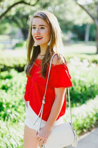 top red off shoulder top red top off the shoulder off the shoulder top white bag bag shoulder bag shorts white shorts tassel earrings summer outfits