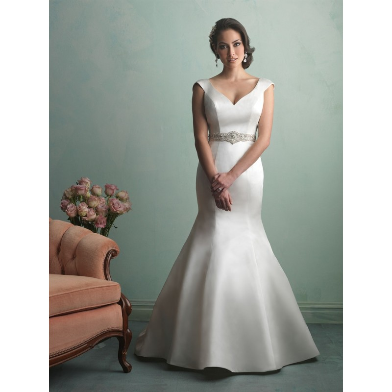 Allure Bridals 9163 Satin Cap Sleeve Wedding Dress Crazy Sale