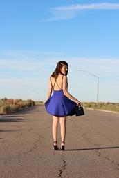 platforms for breakfast,blogger,dress,blue dress,backless dress,shoes