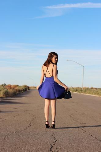 platforms for breakfast blogger dress blue dress backless dress
