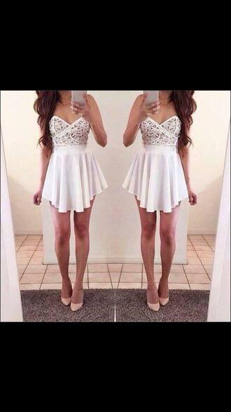 dress clothes shoes white white dress strapless sweetheart neckline