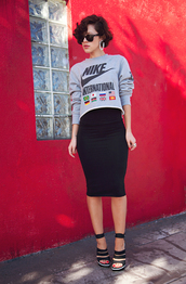 karla's closet,sweater,skirt,shoes,jewels,sunglasses,nike sweater,cropped shirt,nike,crop tops