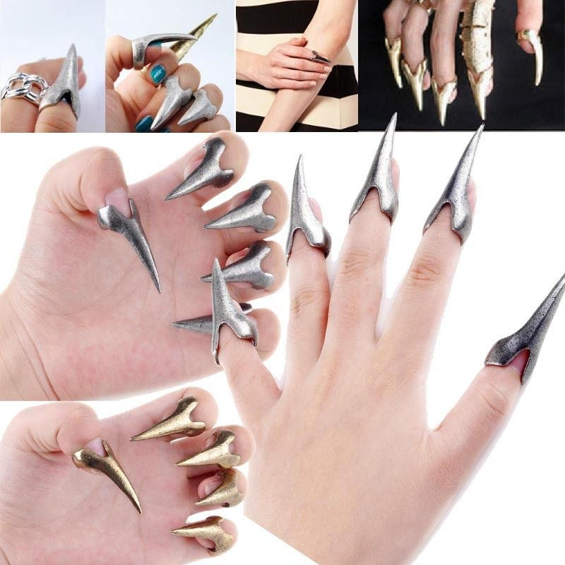New Fashion Retro Punk Rock Gothic Talon Nail Finger Claw Spike Rings Fingertip