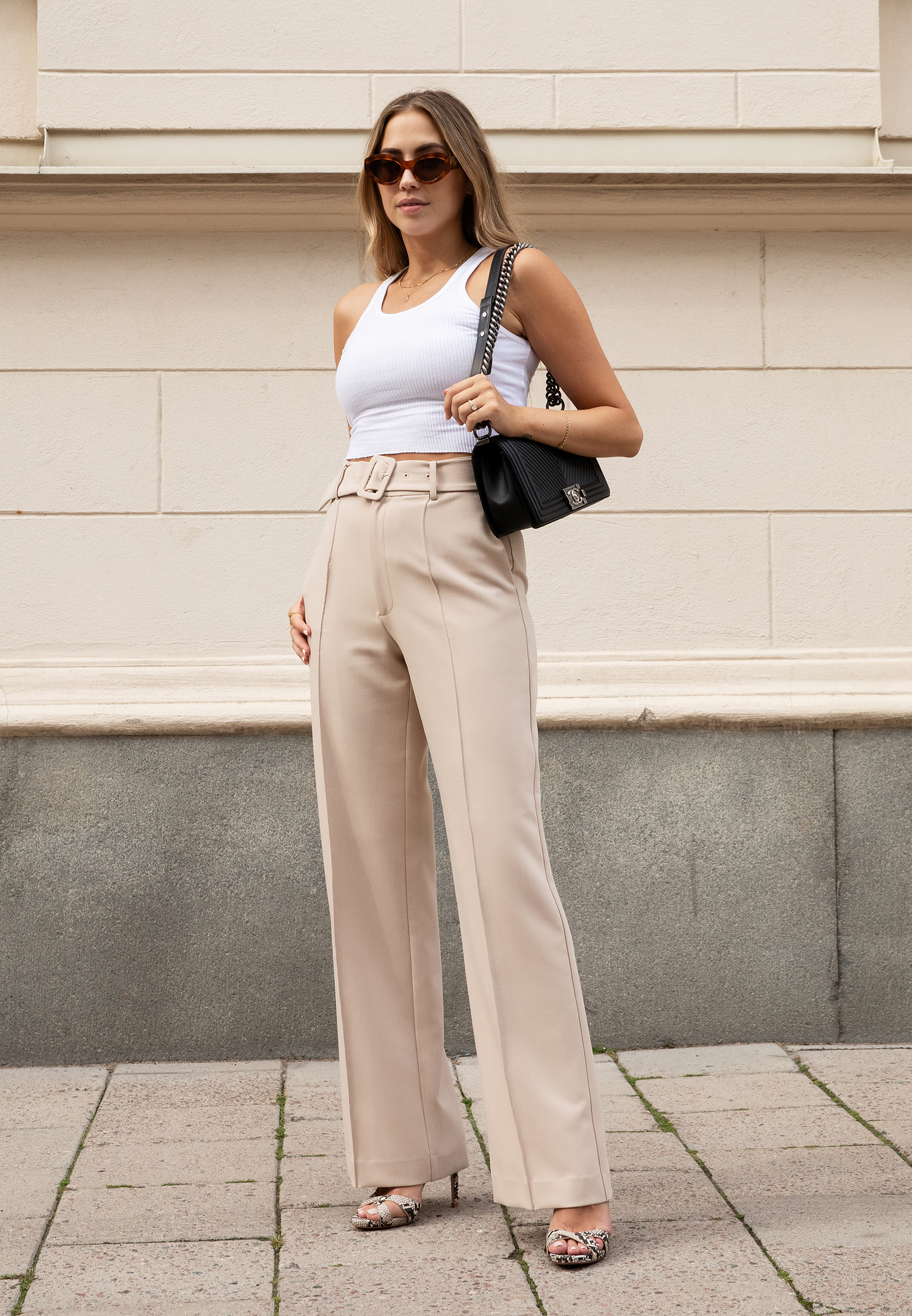 Belted Suit Pants Beige - Ivyrevel.com