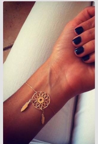 jewels bracelets gold gold bracelets cute dream catch dreamcatcher