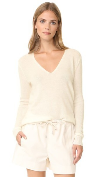 Theory Adrianna Cashmere Sweater in ivory