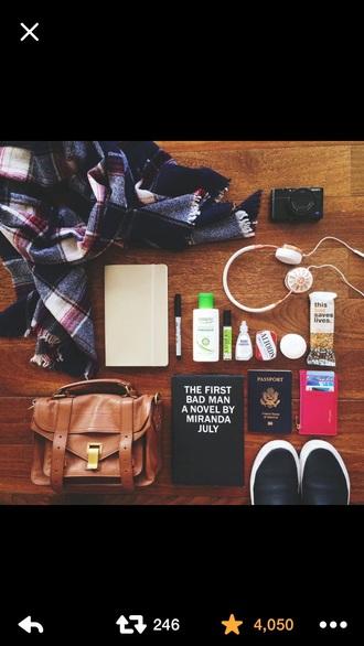 bag brown satchel traveling scarf