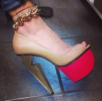 shoes reshaped heel gold chain heels gold heels high heels red heels tan heels leather heels peep toe heels cut heel beige shoes nude shoes high heels platform shoes platform high heels chain high heels chain heels