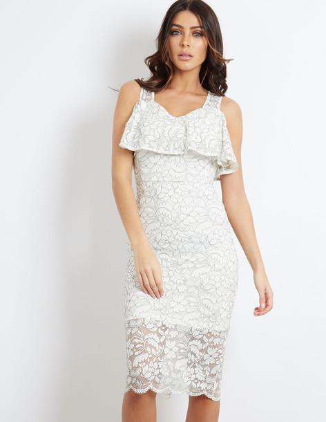 Blue Vanilla WESTLEY - Frill Lace Cold Shoulder Dress Cream