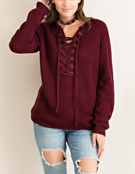 tied up lace-up front sweater - burgundy