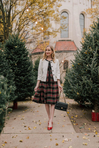 kelly in the city - a preppy chicago life style and fashion blog blogger dress sweater jacket jewels shoes fall outfits plaid dress red shoes pumps chanel bag