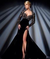 dress,black,prom,sexy,slit,shiny,slit dress,prom dress,prom gown,black velvet,amazing dress,black dress