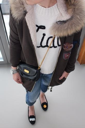 coat khaki slippers chiara ferragni wildfox marc jacobs smoking slippers black bag white sweater fur jacket ripped jeans