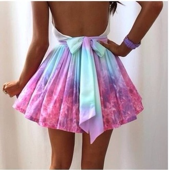 dress backless colorful bows bright colours