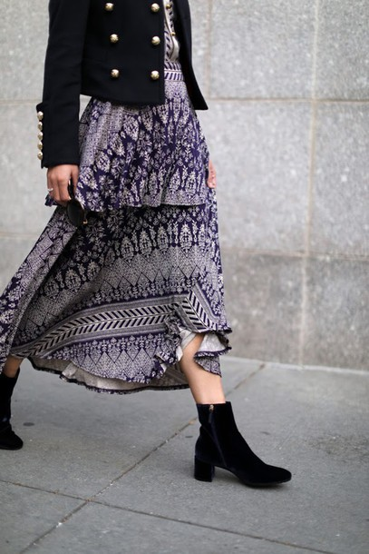 long dress and ankle boots