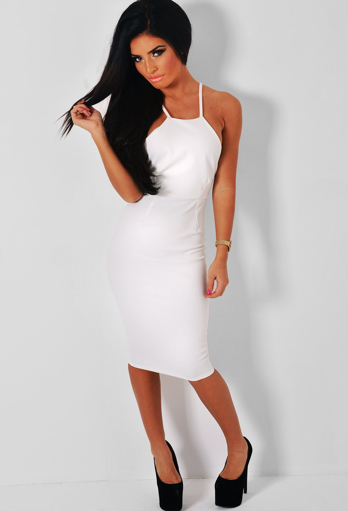 White Textured Bodycon Midi Dress | Pink Boutique