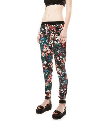 Bershka United Kingdom -Bershka tropical print baggy trousers