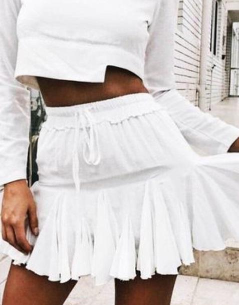 skirt white summer flowy cute crochet