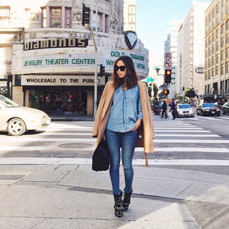 song of style blogger jeans denim shirt camel coat