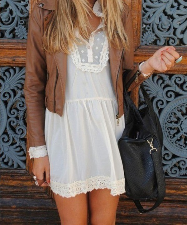 dress dress white dress summer lace lace dress coat leather jacket chiffon dress jacket brown jacket boho boho chic boho dress bohemian bohemian dress white women