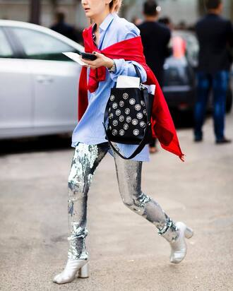 pants tumblr sequins sequin pants silver shirt blue shirt bag black bag boots metallic silver boots high heels boots streetstyle