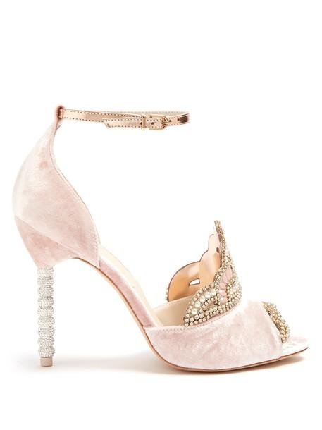 Sophia Webster velvet sandals embellished sandals velvet light pink light pink shoes