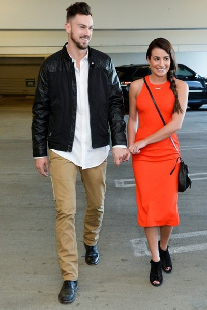 dress lea michele midi dress necklace orange dress shoes jewels