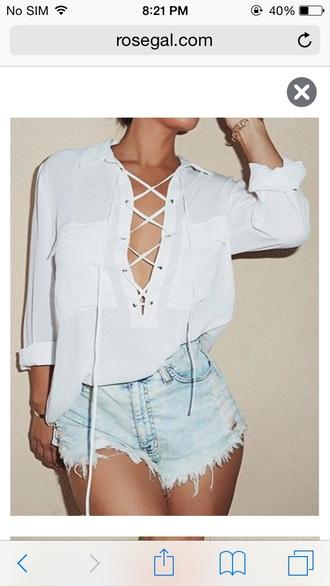 lace up white blouse v neck
