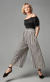 blouse,pants,stripes,striped pants,flats,diane kruger,spring outfits