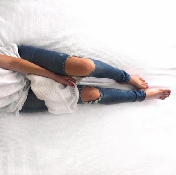 jeans jeans bleu blue trous hole jeans