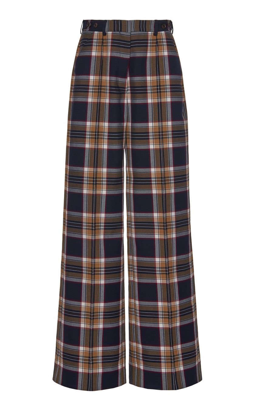 Rokh Plaid Crepe Wide-Leg Pants Size: 38