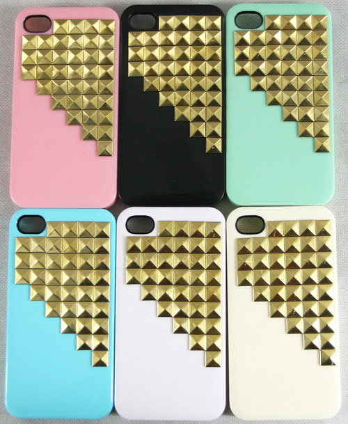 New Hot for iPhone 4 4S Punk Style Studs Back Nails Rivets Skin Case Cover | eBay