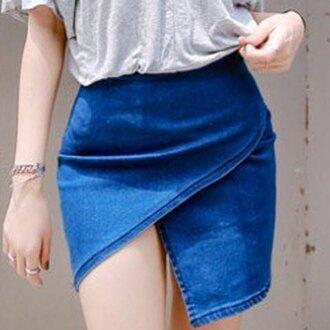 skirt denim asymmetrical bottoms clothes cute summer streetstyle fashion outfit sammydress pants denim skirt jeans blue sexy spring hot trendsgal.com